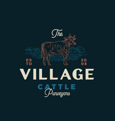 village cattle purveyors abstract sign vector image