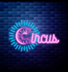 vintage circus emblem glowing neon vector image