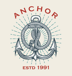 vintage ship anchor emblem vector image