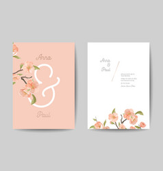 Wedding invitation floral cute cards front vector