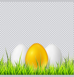 white and golden eggs on a grass realistic vector image