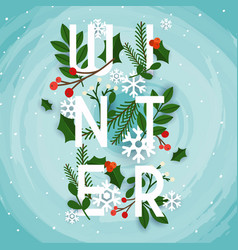 winter leafs and snowflakes on the background vector image