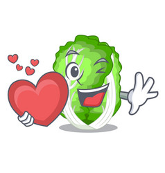 With heart cartoon fresh chinese cabbage vegetable vector