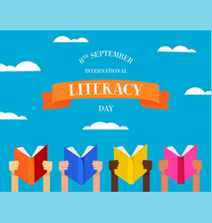 world literacy day concept of people with books vector image