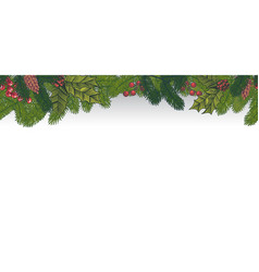 xmas seamless green border christmas decoration vector image