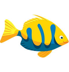 Yellow and blue smiling fish vector