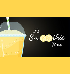 Yellow smoothie fruit logo cocktail vector