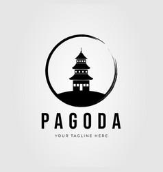 Zen pagoda temple logo design vector