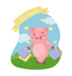 cute pig character walking with shopping bags in vector image
