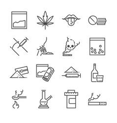 drugs line icon set vector image vector image