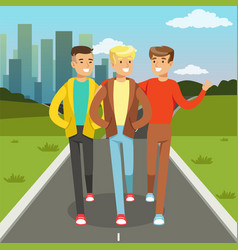 three male friends talking and smiling while vector image