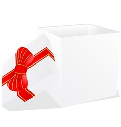 white gift box with red and gold ribbon bow vector image vector image