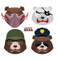 Bears set A masked bear polar bear grizzly bear vector image vector image