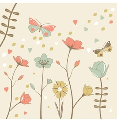 Flower background with butterflies vector image