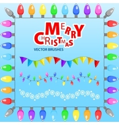 Merry Christmas Set of brushes vector image vector image