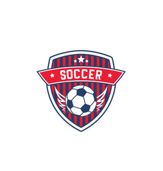 soccer team badge with football sport ball vector image vector image