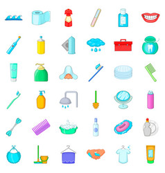 toothpaste icons set cartoon style vector image