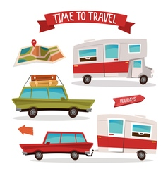 Travel Transportation Set Travel Camper Family Van vector image vector image