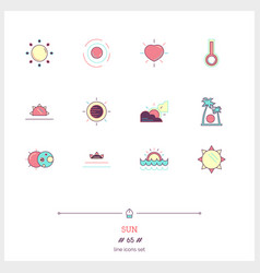 color line icon set of sun sunrise objects and vector image