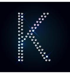 Gems K letter Shiny diamond font vector image
