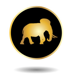 golden and black icon with elephant isolated on vector image vector image