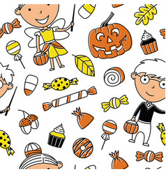 happy girl and boy in halloween costumes with vector image vector image