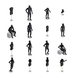 mannequins isometric set vector image