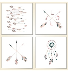 Native Indian-American arrows and dream catcher vector image vector image
