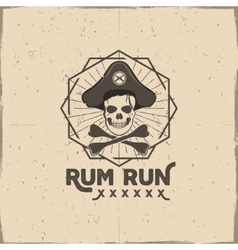Pirate skull insignia or poster Rum label design vector image vector image