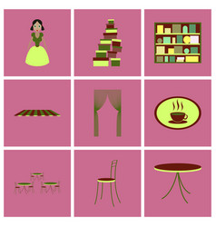 assembly flat icons interior vector image vector image