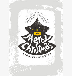 christmas card design template with christmas tree vector image vector image