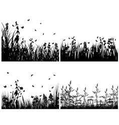 set of grass silhouettes vector image vector image