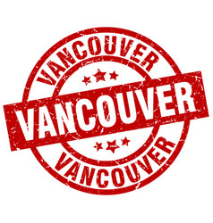 vancouver red round grunge stamp vector image vector image