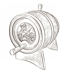 Wine barrel isolated on white vector image vector image