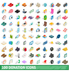100 donation icons set isometric 3d style vector image