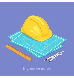 3d isometric concept of engineering project vector image