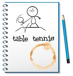 A notebook with a sketch of a person playing table vector