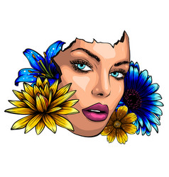 Abstract woman profile with flowers v vector