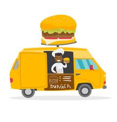 African-american street seller selling burgers vector