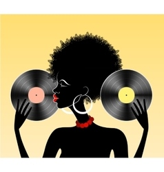 African girl with vinyl vector