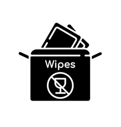 Alcohol free wipes black glyph icon vector