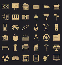 architecture equipment icons set simple style vector image