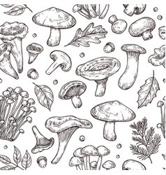 autumn forest pattern sketch mushrooms forest vector image