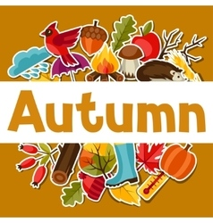 Background design with autumn sticker icons vector