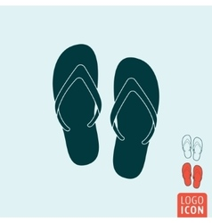 Beach slippers icon isolated vector