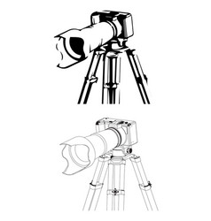 Black camera with tripod on a white vector