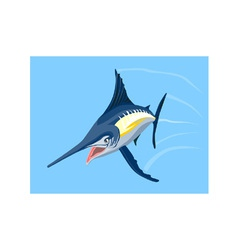 Blue Marlin Fish Jumping Retro vector image
