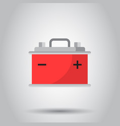 Car battery flat icon on gray background auto vector