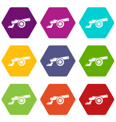 Cast-iron cannon icons set 9 vector