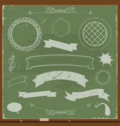 Chalkboard banners and design elements vector